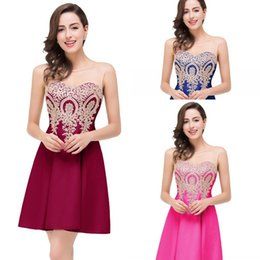 Wholesale 2016 Cheap Short Mini Homecoming Dresses A Line Sheer Jewel Neck Appliques Backless Real Photo Cocktail Party Gowns Under
