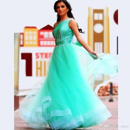 Wholesale New Aqua Blue One Shoulder Tulle Floor Length Tulle Prom Dress With Beaded Detail Prom Gowns