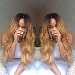 2017 ombre human hair wave 9A Grade 150% Density Human Hair wigs Ombre 1b 27# fashion wave full lace wig Virgin hair glueless wig lace front wig ombre human hair wave on sale