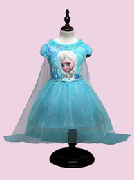 Wholesale 2 filles de couleur froid Cendrillon dentelle paillette manteau robe DHL enfants belle princesse Elsa Anna dentelle bowknot manches courtes robe B001