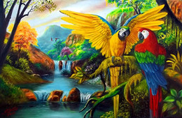 Latest Beautiful Scenery Parrot Embroidery 5d Diy Mosaic Circular Full Diamond Cross Stitch Crafts Diamond Painting Home Decor Parrot Home Decor Promotion