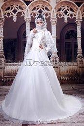 Wholesale 2016 nuevos vestidos de boda blancos del alto cuello musulmán blanco A line mangas largas vestido nupcial de los vestidos islámicos para las novias