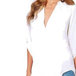 Золотые Руки Женщины Мода Твердые шифоновые рубашки большого размера пышными рукавами Глубокий V-образным вырезом футболки осени весны морщинистой рукава Сыпучие шифоновые рубашки