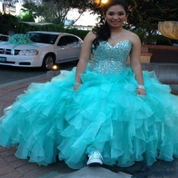 Wholesale Sparkly Crystals Turquoise Ball Gown Quinceanera Dress Sweetheart Organza Layer Ruffles Formal Prom Gowns Vestido Quinceanera Debutante