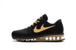 Discount Shoes Run Air Max Hot Sale Mesh Men Air Sportswear Max 2017 Black gold Running Shoes Cheap Sports Maxes Trainer Sneakers With Box Size US7--13