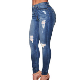 Wholesale 2016 New Women Blue High Waist Classic Jeans Denim Destroyed Skinny Jeans For Women Sexy Jeans