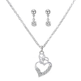 online shopping Lover Heart shaped Rhinestone Crystal Necklace And Earring The Clothing Accessories Fashion Wedding Jewelry Sets Korean Style Gift For Women