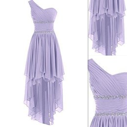 Wholesale High Low Bridesmaids Dresses One Shoulder Chiffon Corset Real Image Cheap Gowns For Brides Maids