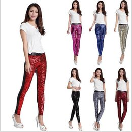 Wholesale Lady Faux Leather High Waist Leggings Fashion Sequins Jeggings Stretch Slim Pencil Pants Skinny Plus Size Tights Trousers Club Wear