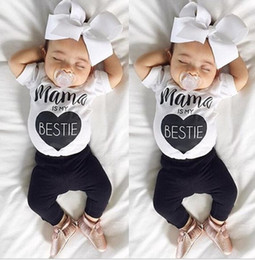 online shopping Cute ins Boys Girls Baby Clothing Sets mama is my bestie short Sleeve T shirts Pants Set Newborn Pajamas Leggings Suits Infant Clothes