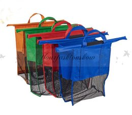 Wholesale Large Size in Shopping Grocery Bag For Supermarket Trolleys Carrier Bag Shopping Bag Reusable Trolleys Folding Shopping Bag