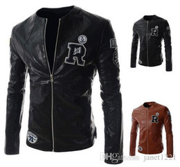autumn racing motorcycle mens jacket personalize r letter design pu leather jackets for men round neck wild men outwear jacket j160934