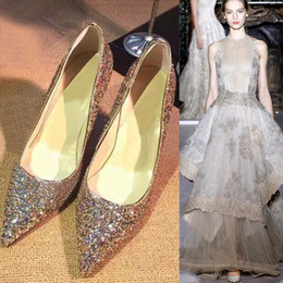 Wholesale Hot Wedding Shoes Gold Silver High heeled Bling Sequins Pointed Toe Formal Party Prom Shoes EM00544
