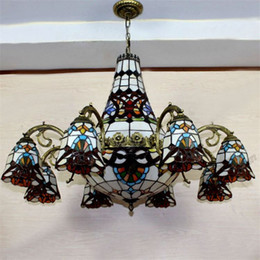 Baroque Tiffany Chandeliers European Vintage Style Stained Glass Suspension  Light Bar Hotels Hanging Lamp Chandelier Lightings
