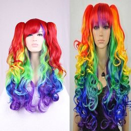 dhl cos anime cosplay wigs clip colored wigs 80cm multi color synthetic hair wig party stage cosplay christmas halloween costume cheap wigs - Colored Wig