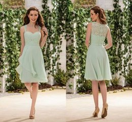 Wholesale Sage Lime Chiffon Short Bridesmaid Dresses Cheap Spaghetti Straps Ruched Sheer Lace Back Maid Of Honor Wedding Guest Gown For Boho Beac
