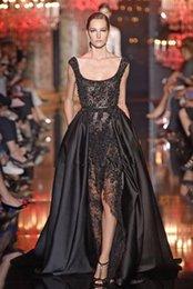 Wholesale 2016 Elie Saab Sonam Kapoor Occasion Prom Gowns Hot Sexy Black Lace Pearls Crystal over skirts Split Evening Dresses Dubai Saudi Arabic