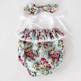 Wholesale Floral girls clothes Girls lace ruffles romper headband piece set Summer romper onesies diaper covers bloomers in Vintage pink Floral