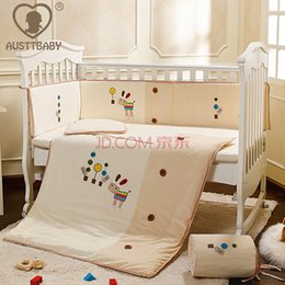 Wholesale 2016 New Arrival Cotton Embroidery Little Horse Baby Bedding Set Quilt Pillow Bumper Bed Sheet Item Crib Bedding Set