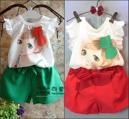 Wholesale Cute Girls Sets Pretty Make Up Lady Print Vest Tank Top T Shirt Chiffon Short Pants Kids Clothes Shorts Tee Shirt Suit MC0044