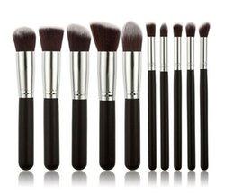 Кабуки Кисти для макияжа 10шт / комплект Профессиональная Косметика Кисть Kit Нейлон волос деревянной ручкой много цветов, чтобы выбрать