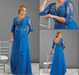 Wholesale 2016 Plus Size Formal Dresses With Long Sleeves Beaded Appliques V Neck Mother Of Bride Dress Chiffon Ruffles Prom Evening Gowns Dresses