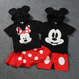 Wholesale 2016 Baby Boy Girls Kids Mickey Minnie Mouse Clothes Tops polka dot Dress tutu Pants Outfit Set