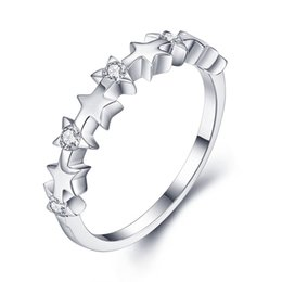brand new high quality sweethearts fashion 925 sterling silver zircon wedding ring charm girl gift beautiful star rings for sale - Wedding Rings On Sale