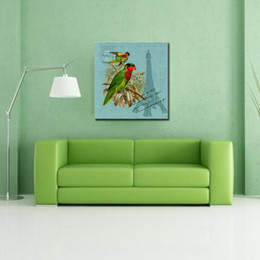 1 Picture Combination Canvas Print Home Decor Art Painting No Frame Parrot On The Branch Eiffel Tower Parrot Home Decor Deals