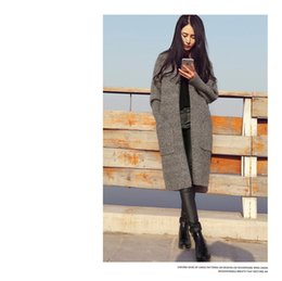 Wholesale Long Cardigan Women Autumn Winter Sweater Winter Autumn Trench Coats Women Solid Ladies Long Sleeve Knitted Cardigans Sweater Gray