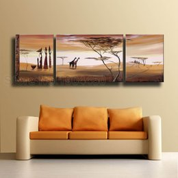 framed hand painted modern large canvas oil painting set african women animal giraffe tree landscape picture wall art home decor