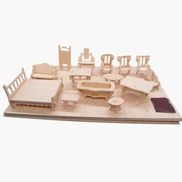wholesale 34pcs set 112 dollhouse mini furnitures childrens educational wooden doll furniture toy3d woodcraft puzzle model kit toy cheap wooden dollhouse cheap wooden dollhouse furniture