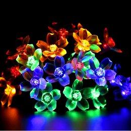 Solar powered Sakura flower outdoor led christmas string lights 7M 50LEDs 7  colors led string light christmas holiday garden