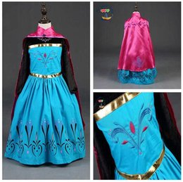 Wholesale Girls Anna Cosplay Costume Kids Elsa Party Dress Kids Halloween Party Dress with Cape in stock