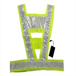 Wholesale LED Light Up Safety Vest With Reflective Stripes Tactical Vest Neon Lime V Clothing Safety Belt Work Cloth Cm