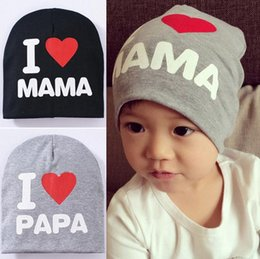 Wholesale 2016 Unisex Cotton Beanie Hat for New Born Cute Baby Boy Girl Soft Toddler Infant Cap i love mama i love papa