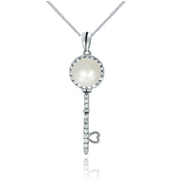 2016 quente livre 925 pingente de chave de prata esterlina com natural 8 milímetros de pérola de água doce dom jóias PS03825