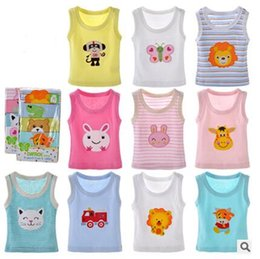 Wholesale Europe Cartoon Embroidered Stripe Sweet Cotton O Neck Sleeves Baby Vest Girl Flower Color And Boy Flower Color Summer Baby Vest ZHY04