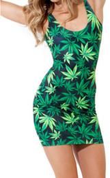 Wholesale Mode féminine élégante Lucky Green Feuille d érable Imprimer robe Ladies Hip Hop Rock Bodycon mini Parti jupe crayon