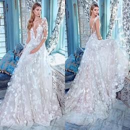 Wholesale Romantic Galia Lahav New Sheer Long Sleeves Deep V Neck Wedding Dresses Full Length Floral Appliqued Back Bridal Gowns Custom Made