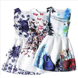 10 Стили Девушки бабочки Цветочные печати платье 2016 Новый стиль тонкий вскользь платье Big Дети девушки вечера партии Элегантный Vintage платье