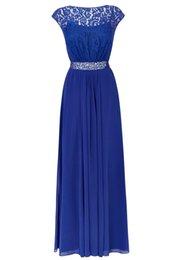 Wholesale Royal Blue Long Lace Evening Dresses Sheer Neckline Chiffon Beadings Sash Cap Sleeve Maxi Long Plus Size Guest Dress Prom Gowns