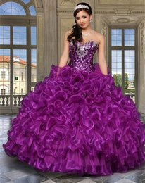 Wholesale 2016 Purple Cheap Quinceanera Dresses With Jacket Sweetheart Crystals Organza Ball Gown Vestidos De Anos Sweet Dresses