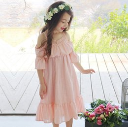 Wholesale 2016 Korean Clothes Sweet Girls Lace Sexy Sleeve Cotton Dress Comfortable Princess Party Dancing Dressy Girl Dresses KB497