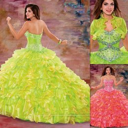 Wholesale Vestido Para Debutante De Anos Green Quinceanera Dresses With Jacket Organza Beaded Crystals Perfect Birthday Party Dress Custom Made