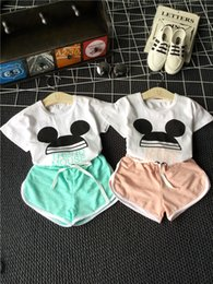 Wholesale 2016 Summer Baby Girl Suits T shirt Shorts Clothing Cotton Sets Top T shirt And Dot Shorts Outfits Kids Clothing Suits AA095