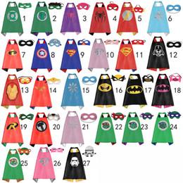 Wholesale 70 CM Double Side Kids Superhero Capes with Masks Batman Spiderman Ninja Turtles Captain America for Kids Halloween Birthday Party