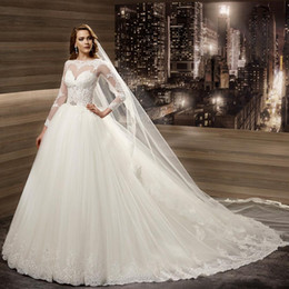 Wholesale New Arrivals Wedding Dresses Europe Illusion Sheer Lace A Line Puffy Tulle Skirt Full Sleeves Bridal Gowns Ball vestido de noiva
