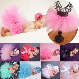 Wholesale Best Match Newborn Toddler Baby Girl s Tutu Skirt Skorts Dress Headband Outfit Fancy Costume Yarn Cute Colors QX190
