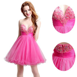 Wholesale Fuchsia Tulle Short Homecoming Cocktail Dresses Sweetheart Handmade Flowers Real Photos Cheap Graduation Occasion Ball Gown Custom Made